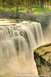 A distant perspective on the Middle Falls at Letchworth State Park,